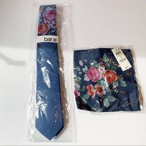 NWT Men's Bar lll Tie and Pocket Square BL Floral